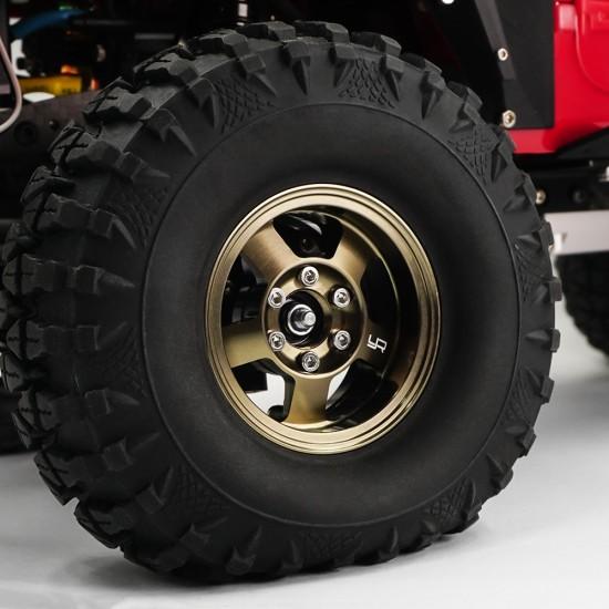 1.9 Aluminum CNC 5 Spoke Beadlock Rim 2pcs Gold Titanium