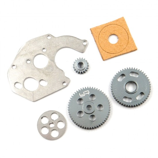 Steel Transmission Gear & Motor Plate Set (0.3M,19T/51T/59T) For Axial SCX24
