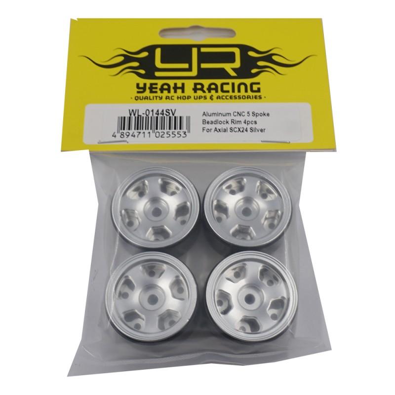 Aluminum CNC 5 Spoke Beadlock Rim 4pcs For Axial SCX24 Silver