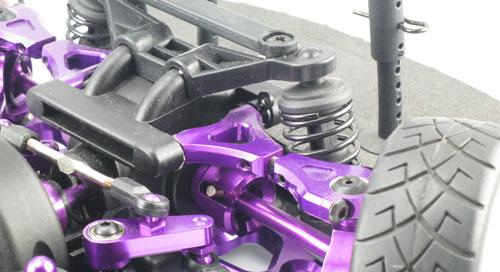 Yeah Racing Aluminum Front & Rear Upper Arm Set (PP) for HPI E10
