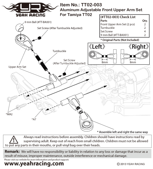 Yeah Racing Aluminum Adjustable Front Upper Arm Set For Tamiya TT02 #TT02-003