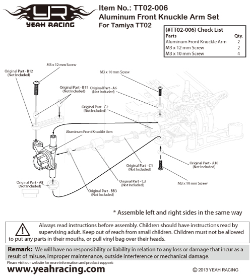 Yeah Racing Aluminum Front Knckle Arm Set For Tamiya TT02 #TT02-006