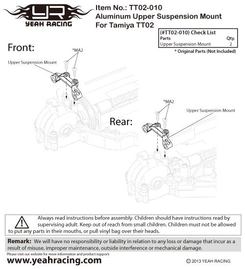 Yeah Racing Aluminum Upper Suspension Mount For Tamiya TT02 #TT02-010