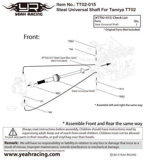 Yeah Racing Steel Universal Shaft For Tamiya TT02 #TT02-015