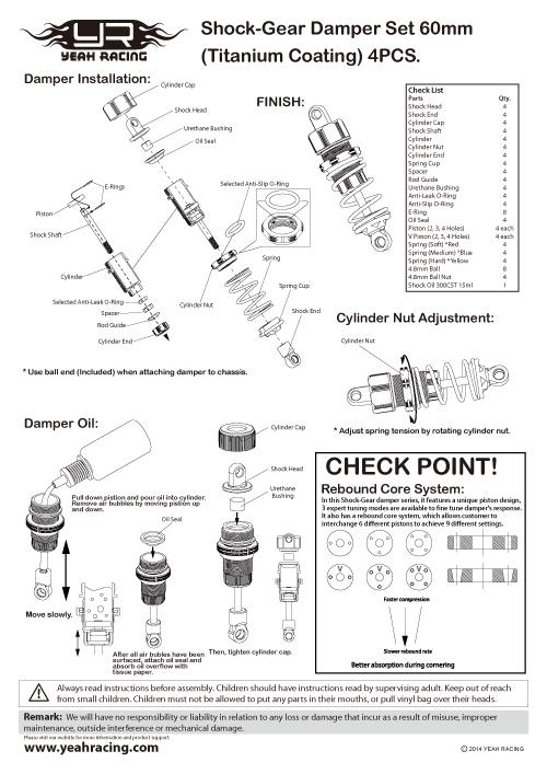 Yeah Racing Shock-Gear 60mm Damper Set For 1/10 RC Off Road Car #DSG-0060BU