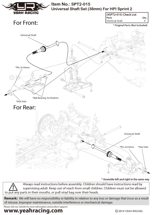 Yeah Racing Universal Shaft Set 38mm For HPI Sprint 2 For HPI Sprint 2 #SPT2-015
