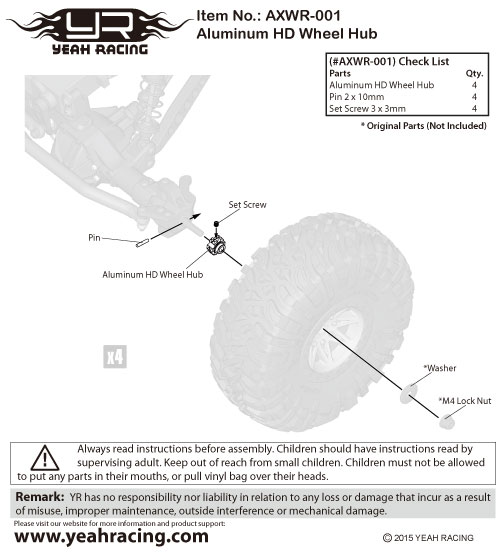 Yeah Racing Aluminum HD Wheel Hub For Axial Wraith #AXWR-001
