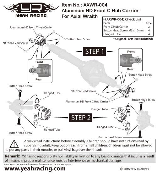 Yeah Racing Aluminum HD Wheel Hub For Axial Wraith #AXWR-004