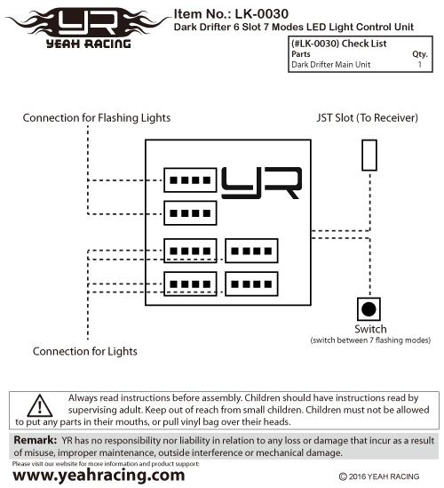 Yeah Racing Dark Drifter 6-Slots LED Light Main Unit Manual