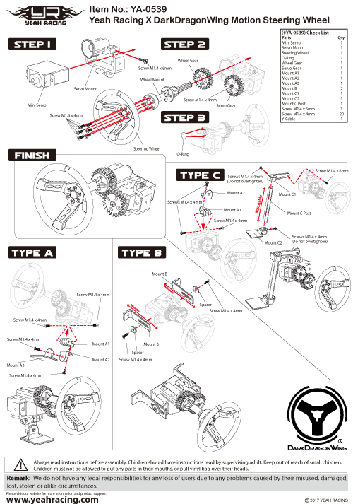 Yeah Racing X DarkDragonWing Motion Steering Wheel For 1:10 Touring Drift RC Car #YA-0539