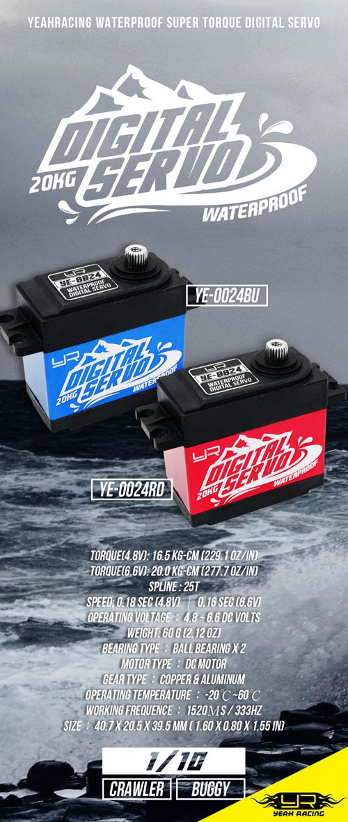 Yeah Racing 20kg Waterproof Super Torque Digital Servo Blue For 1/10 Crawler Buggy #YE-0024BU