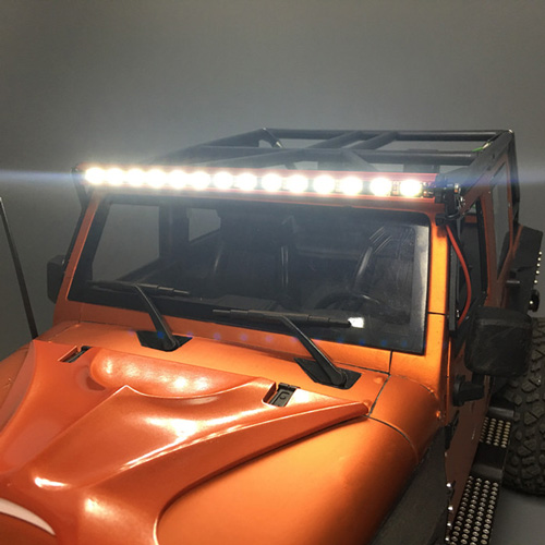 Yeah Racing 1/10 Aluminum White Super Bright LED Light Bar Black w/ Mounts for Axial Jeep RC Truck Crawler