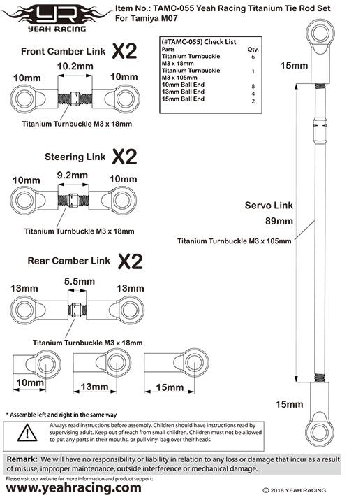 Yeah Racing Titanium Turnbuckle set for Tamiya M07 #TAMC-055