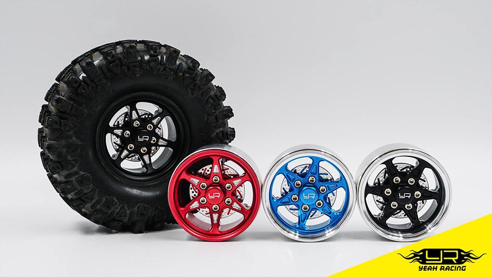 Yeah Racing 1.9 Aluminum CNC BXN 6 Spoke Beadlock Wheel w/ Brake Rotor