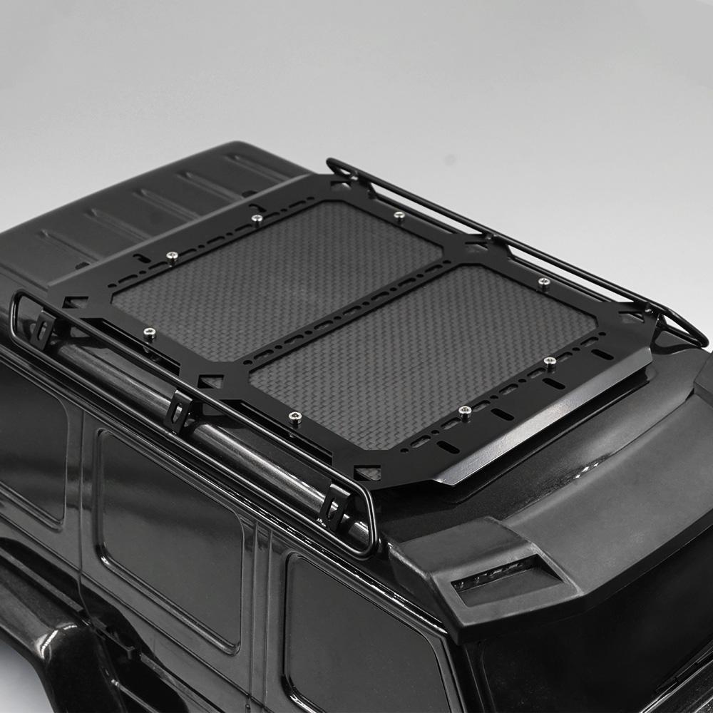 (#TRX4-083) Metal & Carbon Roof Rack w/Light White Leds For Traxxas TRX-4 Mercedes Benz